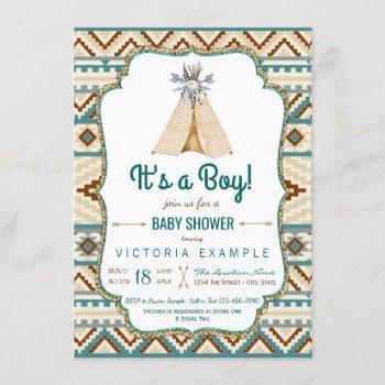 Boys Tribal Teepee Aztec Baby Shower Invitation