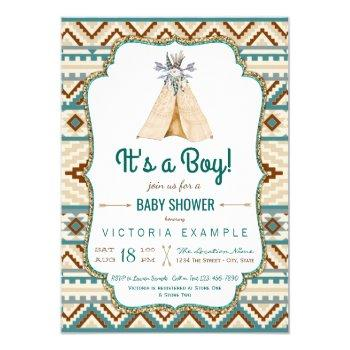 Boys Tribal Teepee Aztec Baby Shower Invitation