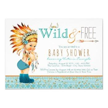 Boys Tribal Wild And Free Baby Shower Invitation