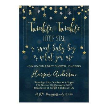 Boys Twinkle Little Star Baby Shower Invitation