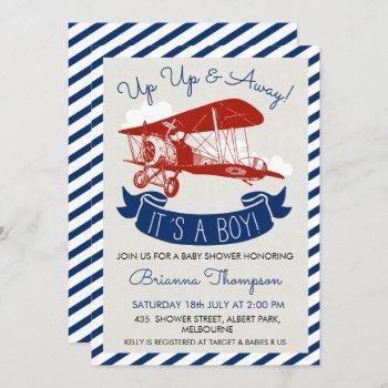 Boy's Vintage Plane Baby Shower Invitation