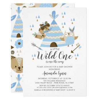 Boys Wild One Baby Shower Invitation