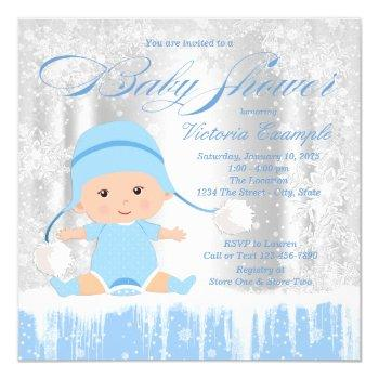 Boys Winter Wonderland Snow Baby Shower Invitation