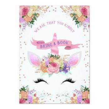 Bright Floral Unicorn Bring A Book Invitation
