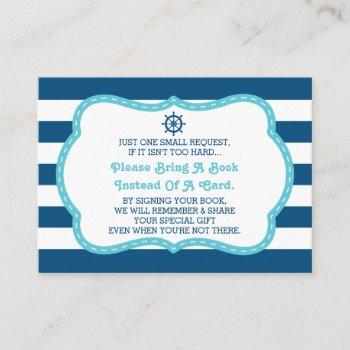 Bring A Book Card, Ahoy, Nautical, Baby Shower Enclosure Card