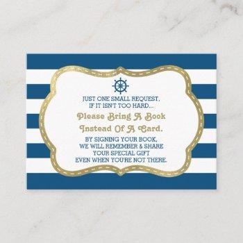 Bring A Book Card, Ahoy, Nautical Shower Faux Gold Enclosure Card