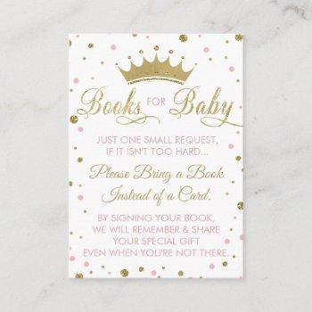 Bring A Book Card, Princess, Baby Shower Enclosure Card