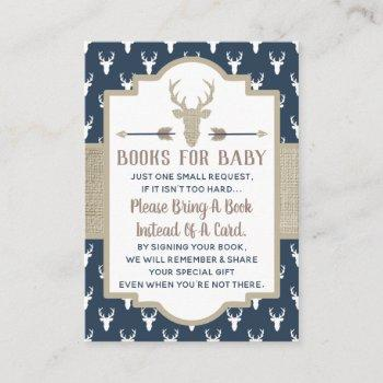 Bring A Book Card, Woodland Deer, Baby Shower Enclosure Card