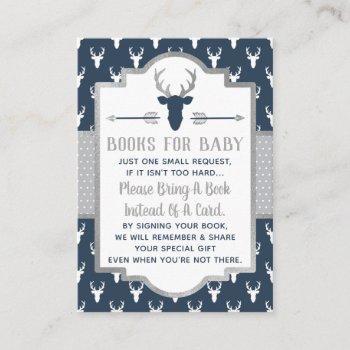 Bring A Book Card, Woodland Deer, Baby Shower Enclosure Card