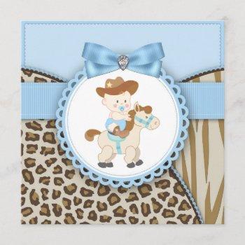 Brown Blue Cowboy Baby Boy Shower