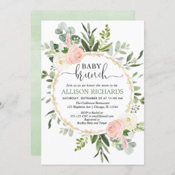 Brunch Baby Shower Girl, Eucalyptus Pink Gold Invitation