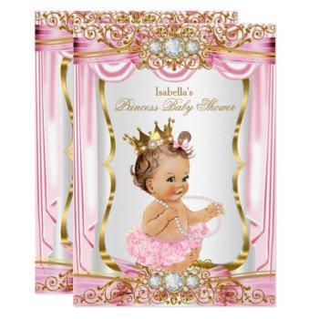 Brunette Girl Princess Baby Shower Pink Silk Gold Invitation
