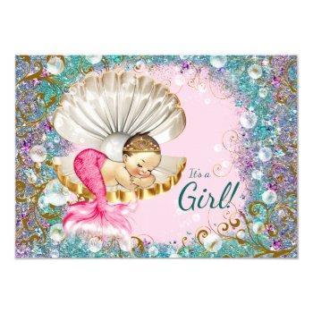 Brunette Mermaid Baby Shower Invitations