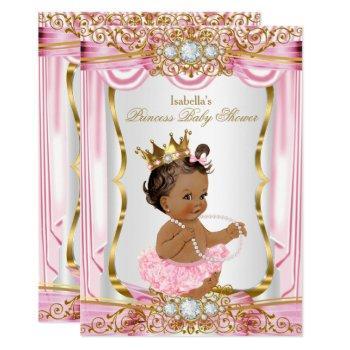 Brunette Princess Baby Shower Pink Silk Dark Invitation