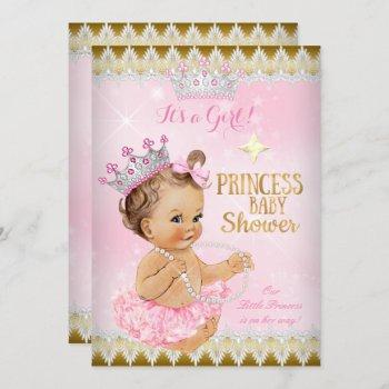 Brunette Princess Baby Shower Pink Tutu Gold Invitation