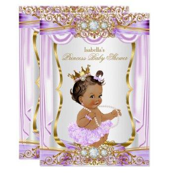 Brunette Princess Baby Shower Purple Silk Gold Invitation