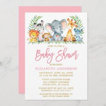 Brush Script Safari Animals Pink Gold Baby Shower