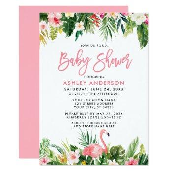 Brush Script Tropical Floral Baby Shower Invitation