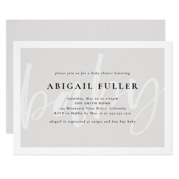 Brushed Grey And White Baby Shower Invitation