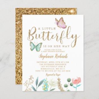 Budget Butterfly Garden Gold Baby Shower Invite