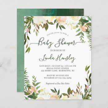 Budget Greenery Floral Baby Shower Invitations