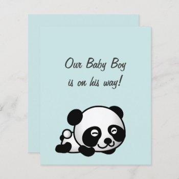 Budget Sweet Panda On Blue It's A Boy Baby Shower