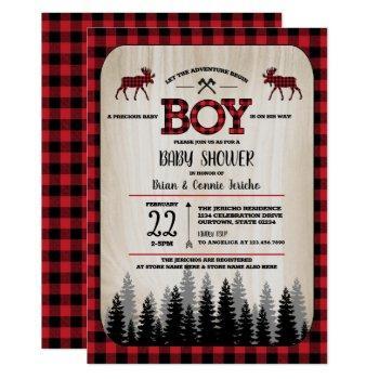 Buffalo Check Woodland Lumberjack Baby Shower Invitation