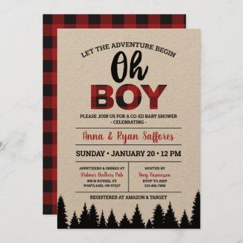 Buffalo Plaid Baby Shower Invitation - Oh Boy