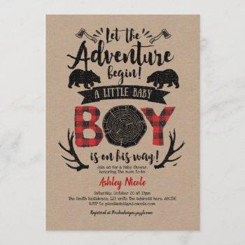 Buffalo Plaid, Lumberjack, Rustic, Kraft, Baby Boy Invitation