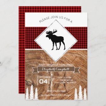 Buffalo Plaid Moose Themed Baby Shower Invitation
