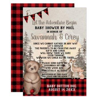 Buffalo Plaid Woodland Baby Shower By Mail Invitation