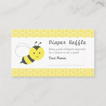 Bumble Bee Baby Shower, Diaper Raffle Tickets Enclosure Card