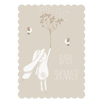 Bunny On The Breeze Gender Neutral Baby Shower Invitation