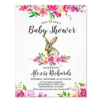 Bunny Rabbit Floral Baby Girl Shower Invitation
