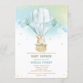 Bunny Rabbit Hot Air Balloon Baby Shower Boy