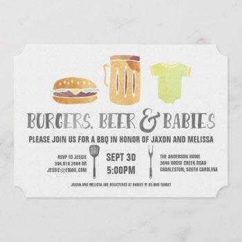 Burgers, Beer, And Babies - Couple's Baby Shower Invitation