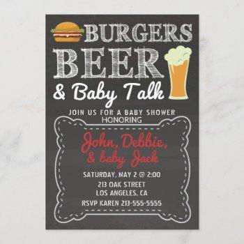 Burgers, Beer, & Baby Talk Baby Shower Invitation