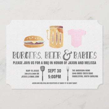 Burgers, Beer 'n Babies -pink Baby Shower Invitation