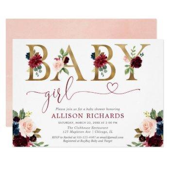 Burgundy Blush Navy Blue Floral Girl Baby Shower Invitation