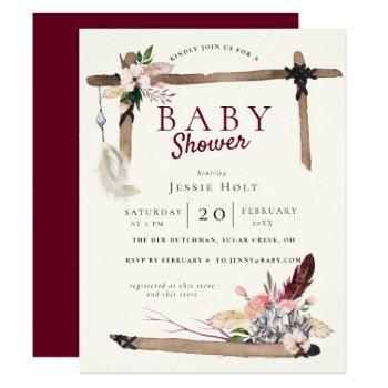 Burgundy Boho Babyshower Invitation