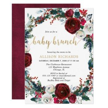 Burgundy Gold Elegant Christmas Brunch Baby Shower Invitation