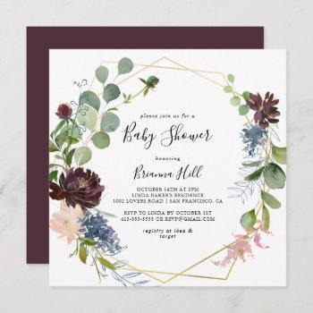 Burgundy Gold Geometric Baby Shower Invitation