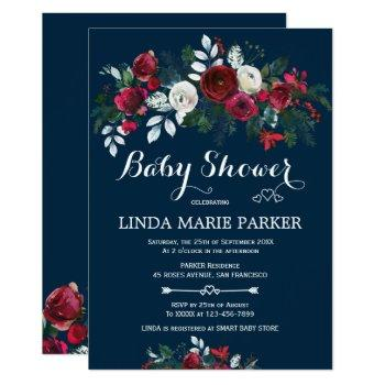 Burgundy Navy Blue Floral Winter Baby Shower Invitation