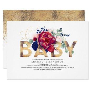 Burgundy Red And Navy Blue Floral Baby Shower Invitation
