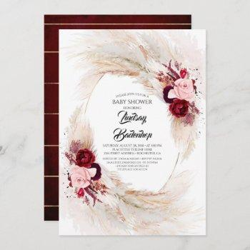 Burgundy Red Floral Pampas Grass Baby Shower Invitation