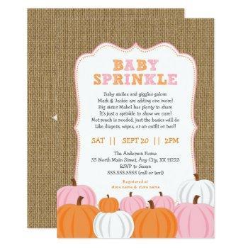 Burlap Girl Pumpkin Baby Sprinkle Invitation