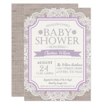 Burlap Purple & Lace Baby Shower Invitation