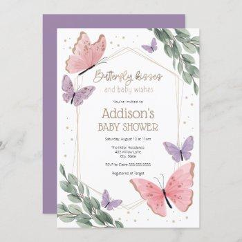 Butterflies And Eucalyptus Baby Shower Invitation