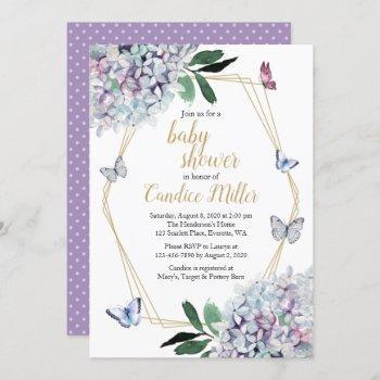 Butterfly Baby Shower Invitation Purple Invites