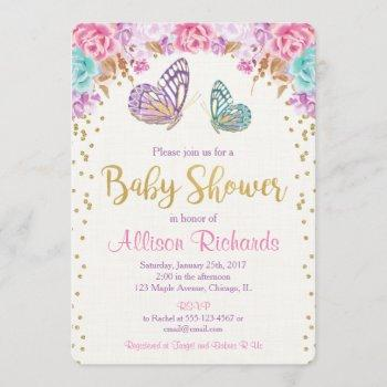 Butterfly Baby Shower, Pink Purple Gold Girl